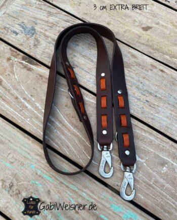 Listenhund Hundeleine 1,5 m lang Leder 3 cm EXTRA breit