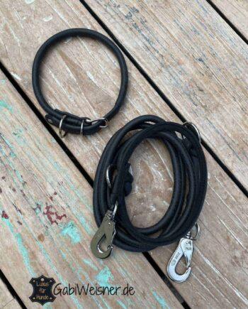 Hundehalsband und Leine Leder rund 8 mm dick, Schwarz, sofort lieferbar