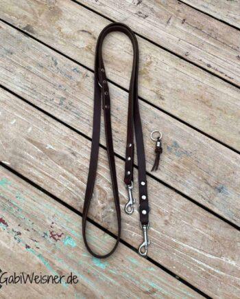 Hundeleine Leder 15 mm breit, kleine Edelstahl Karabiner, braun