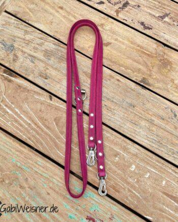 Hundeleine Leder 15 mm breit, kleine Edelstahl-Karabiner, Leder in Pink