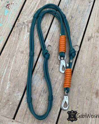 Hundeleine, Leder in Petrolfarben und Orange. Edles Nappaleder im Doppelstrang mit je 8 mm. Bestückt mit Messing oder Edelstahl Karabiner nach Wunsch.