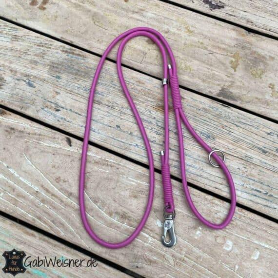 Hundeleine mit Handschlaufe 1,4 m lang Leder 6 mm Ø Lederfarbe Pink