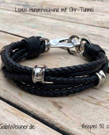 Luxus Hundehalsband für kleine Hunde. Edle Nappaleder im Mix ca. 3 breit. Dekoriert mit 3 Ohr-Tunnel. Leder in Schwarz oder Dunkelbraun
