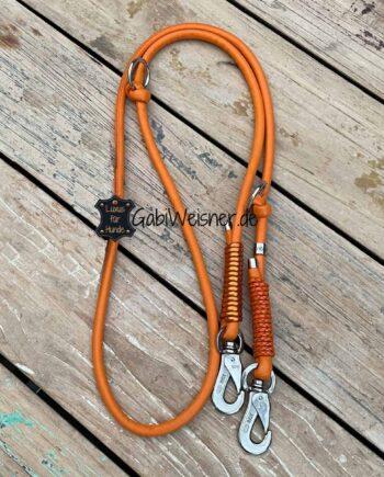 Hundeleine Leder rund 8 mm. Ein Strang Nappaleder in Orange und Orange-metallic. Verstellbar mit Edelstahl oder Messing-Karabiner nach Wunsch.
