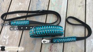 Hundehalsband Leder 5 cm breit dekoriert mit viel Edelstahl
