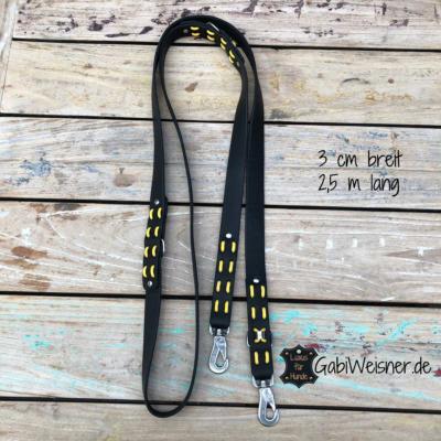 Fettlederleine-3-cm-breit-2,5-m-lang-3-fach-verstellbar-schwarz-gelb-2