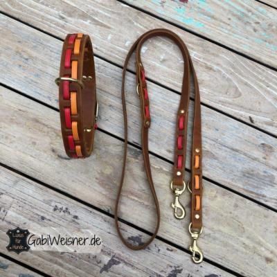 Hundehalsband-3-cm-Leine-2-cm-breit-Leder-in-8-Farbkombinationen