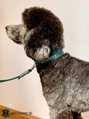 Hundehalsband-5-cm-breit-Leder-Mix-Petrol-Loki-2