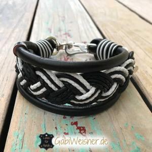 Hundehalsband Leder Luxus in Schwarz-Weiß