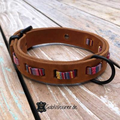 Hundehalsband-Hippie-Look-Cognac-Rosa