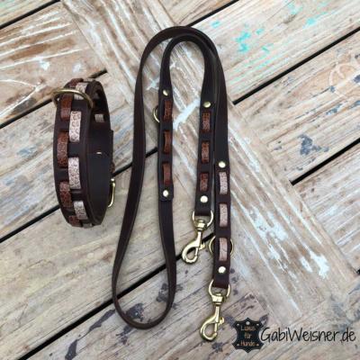 Hundehalsband-Hundeleine-Leder-mit-Kroko-Optik-2-cm-breit-Braun-Messing-Karabiner,