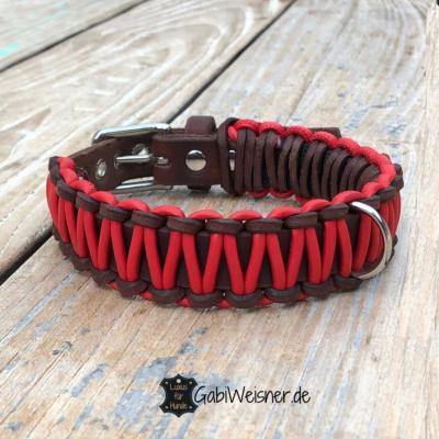 Hundehalsband-Leder-25-mm-breit-Nappaleder-Rot