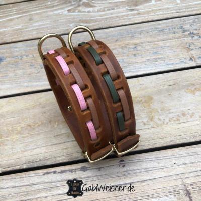 Hundehalsband-Leder-25-mm-breit-braun-rosa-moos-hellbraun
