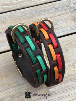 Hundehalsband-Leder-3-cm-breit-Grün-Rot