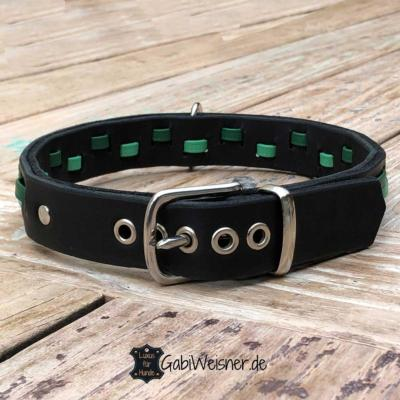 Hundehalsband-Leder-3-cm-breit-verstellbar-Nappaleder-in-Grün