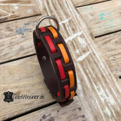 Hundehalsband-Leder-3-cm-breit-verstellbar-Nappaleder-rot-orange