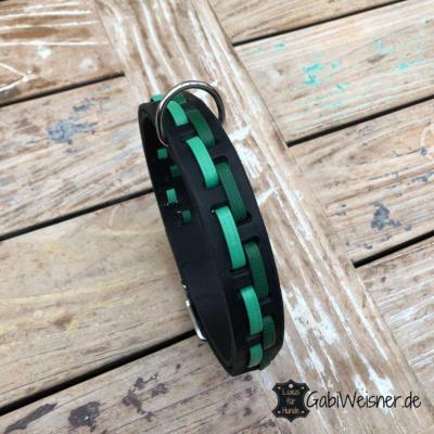 Hundehalsband-Leder-3-cm-breit-verstellbar-grün