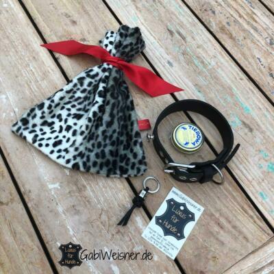 Hundehalsband Leder 2 cm breit, Welpen, langhaarige Hunde, 5 – 8 Ösen