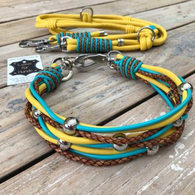 Hundehalsband-Leder-Hundeleine-gelb-tuerkis-1