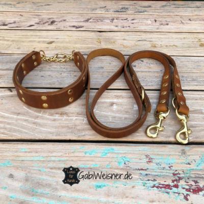 Hundehalsband-Leder-Leine-Gold-Messing-Cognac