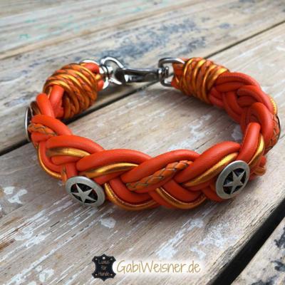 Hundehalsband-Leder-Orange-Sheriffstern