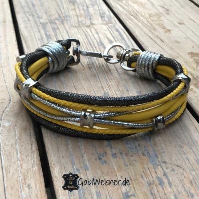 Hundehalsband-Leder-Schwarz-Gelb-Luxus-für-Hunde-Gabi-Weisner-1