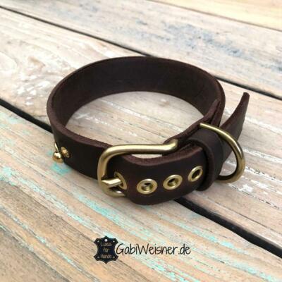 Hundehalsband Leder 3 cm breit, Welpen, langhaarige Hunde, 5 / 8 Ösen