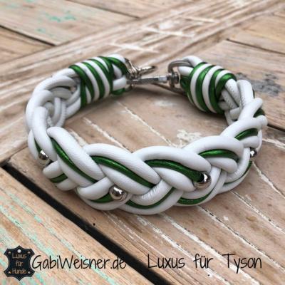 Hundehalsband-Leder-in-Weiß-mit-Grün-metallic-breit-geflochten-Tyson