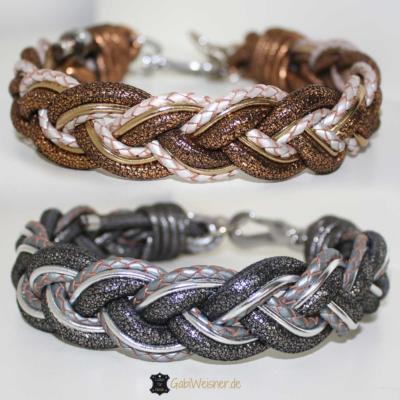 Hundehalsband-Leder-mix-3-cm-breit-silber-gold