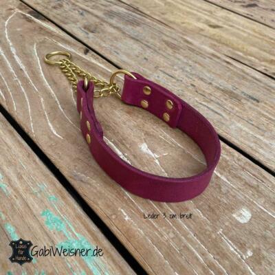 Hundehalsband Leder pink 3 cm breit Zugstopp Kette Messing