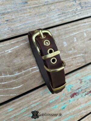 Welpen Halsband Leder 25 mm breit, verstellbar in 5 oder 8 Ösen zum Mitwachsen