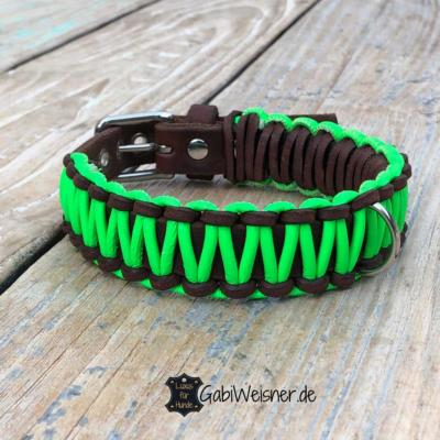 Hundehalsband-Neon-Grün-Braun