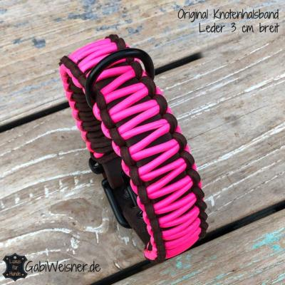 Hundehalsband-Neon-pink,-Leder-3-cm-breit