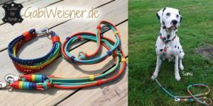 Hundehalsband mit passender Hundeleine aus Leder gibt es nach Maß bei www.GabiWeisner.de