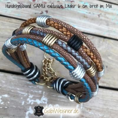 Hundehalsband-SAMU-exklusive-Leder-6-cm-breit-im-Mix