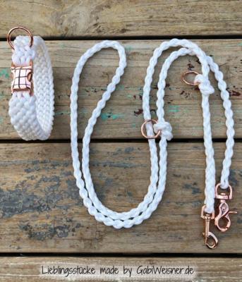 Hundehalsband-Weiß-Rosegold-Leine-Hochzeit-SET-1