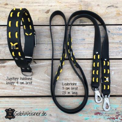 Hundehalsband-Zugstopp-Lederleine-große-Hunde-schwarz-gelb-2