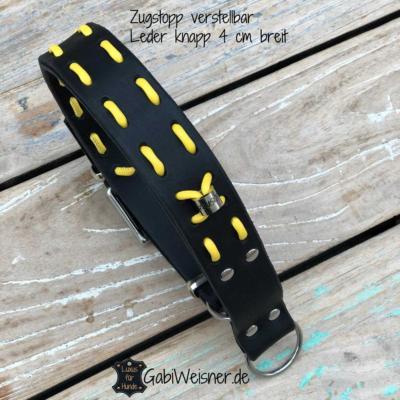 Hundehalsband-Zugstopp-verstellbar-Leder-4-cm-breit-für-große-Hunde-schwarz-gelb-2