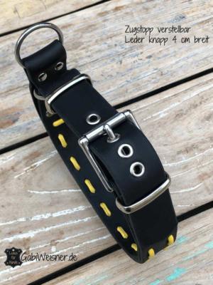Hundehalsband-Zugstopp-verstellbar-Leder-4-cm-breit-schwarz