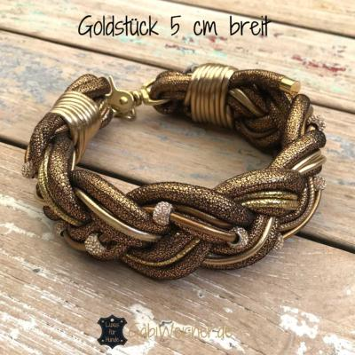 Hundehalsband-geflochten-Goldstück-5-cm-breit
