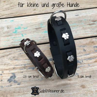 Hundehalsband-mit-Pfoten-auf-Leder-für-kleine-und-große-Hunde