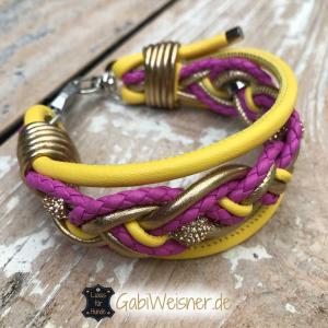Hundehalsband-nach-Wunsch-Gelb-Pink-Gold