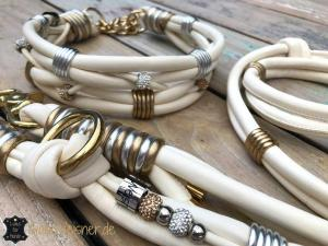 Hundehalsband-set-hochzeit-Elfenbein-Gold-Silber-1