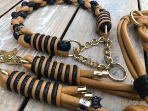 Hundehalsband-und-Leine-im-set-cognac-blau 3