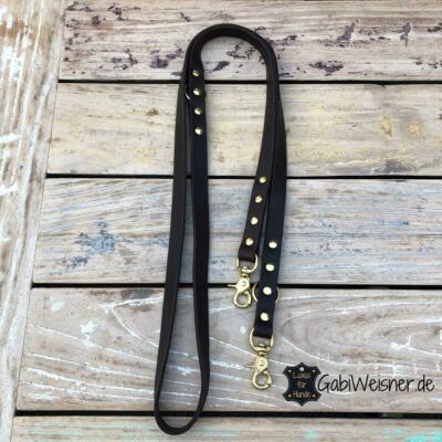 Hundeleine Fettleder 2 cm breit, Messing-Karabiner, Leder, 4 Farben