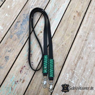 Hundeleine-Leder-2-cm-breit-Schwarz-Scherenkarabiner-Jade