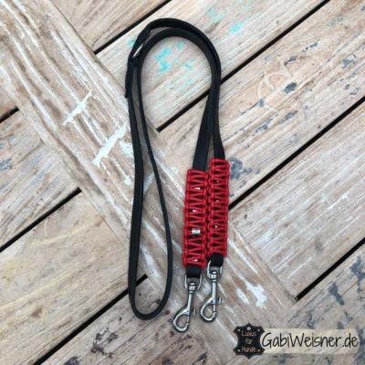 Hundeleine-Leder-2-cm-breit-verstellbar-Knotenmuster-Rot