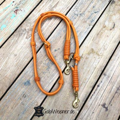 Hundeleine-Leder-in-Orange,-Doppelstrang-mit-je-8-mm