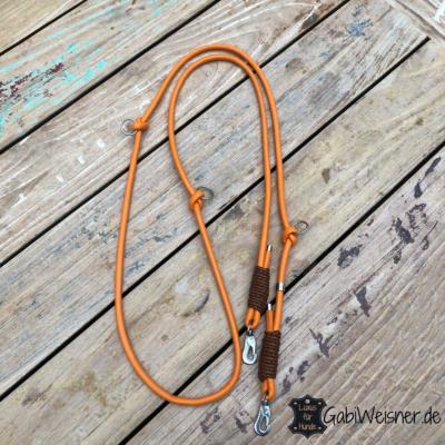 Hundeleine-Leder-rund-8-mm-verstellbar-Orange-Braun-sprenger-haken-2,2-m-lang-
