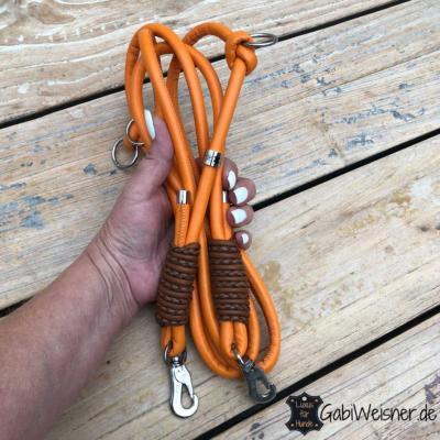 Hundeleine-Leder-rund-8-mm-verstellbar-Orange-Braun-sprenger-haken-220-mm-lang-